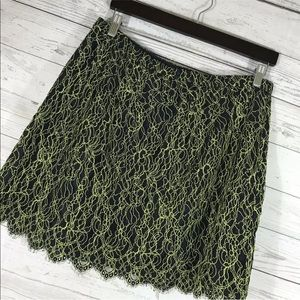 J Crew Skirt Lace Scallop Blue Green Tea Party 8